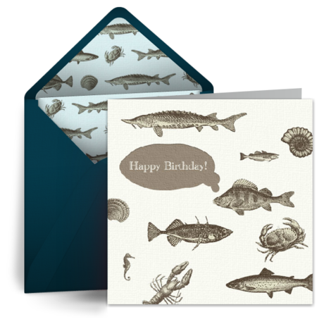 Birthday fish for him free birthday card for him happy for Fishing birthday cards