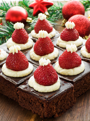 Christmas dessert idea: Santa hat brownies