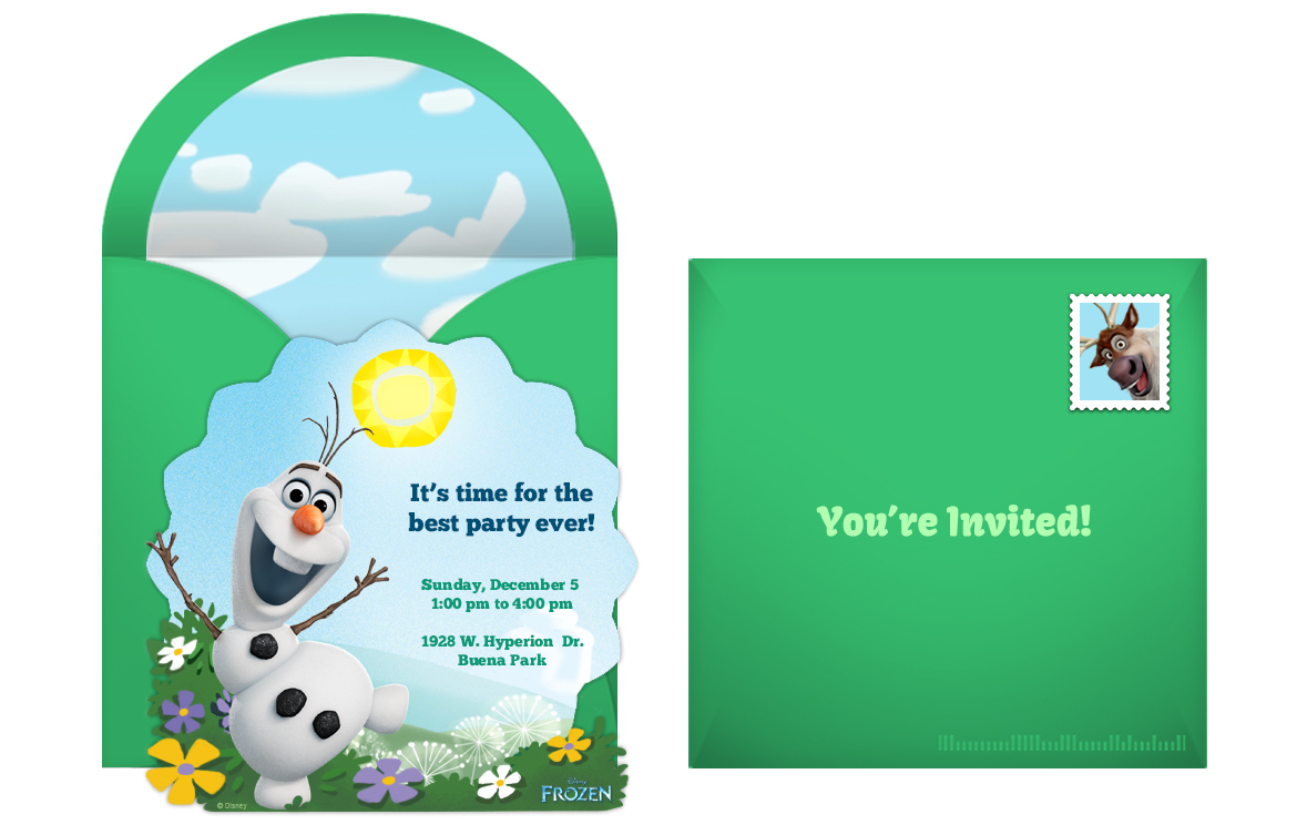 frozen olaf online invitation