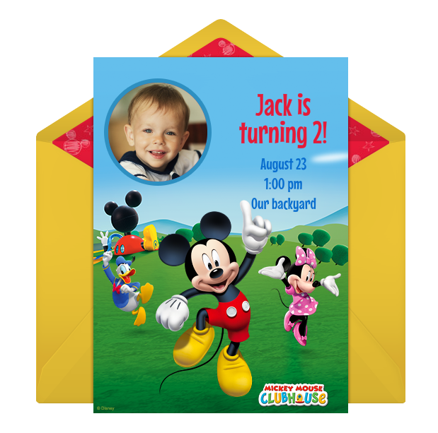 disney mickey mouse online photo invitation