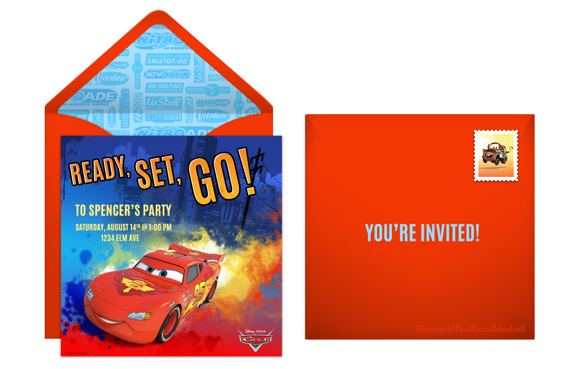 free disney cars online invitation
