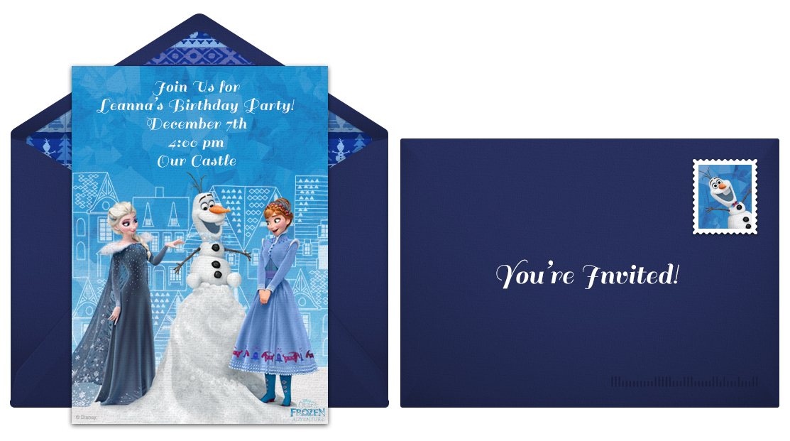 Send free Disney Olaf's Frozen Adventure online invites!