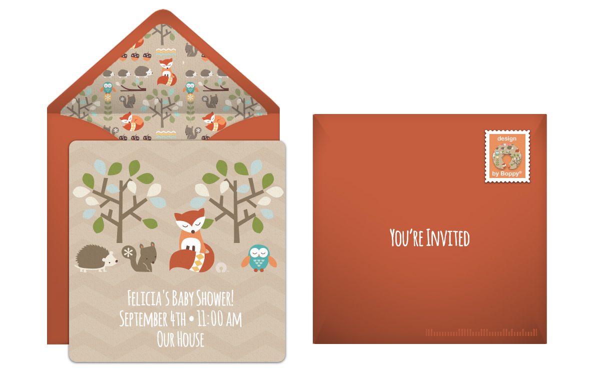 Woodland Creatures Baby Shower Online Invitation