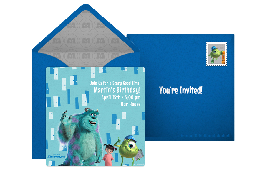 Free Disney online invitation Monsters Inc.