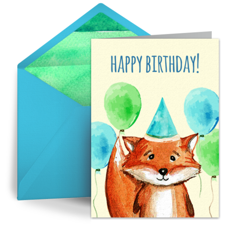 birthday fox  free kids happy birthday ecard, greeting card, Birthday card