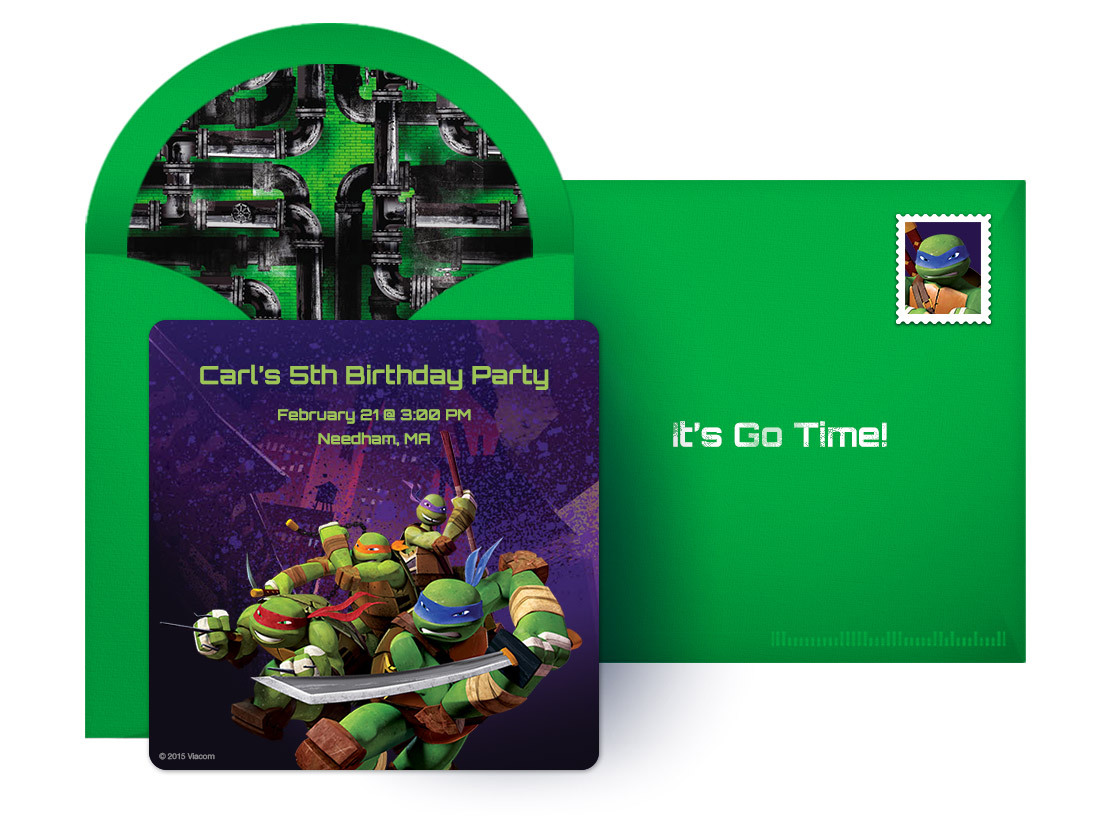 free Teenage Mutant Ninja Turtles online invitations